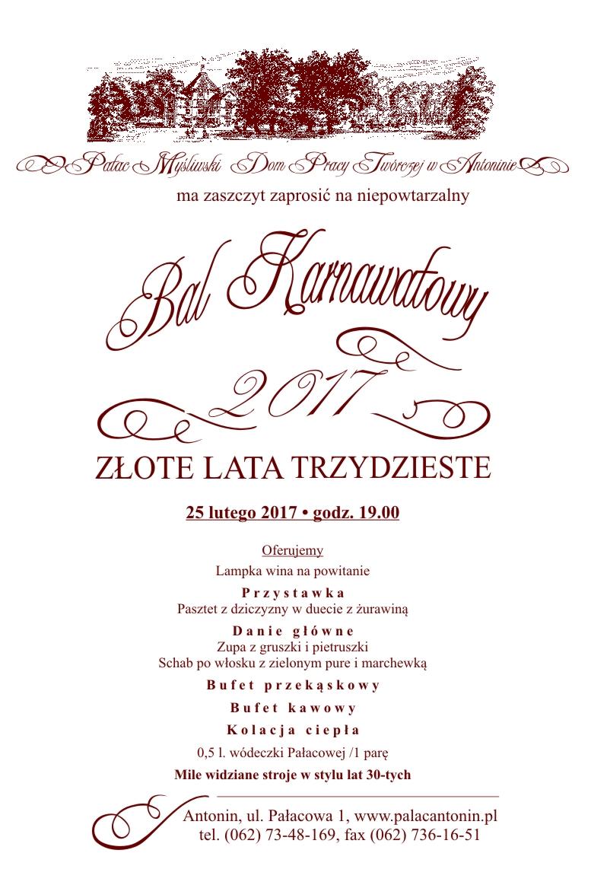 Bal Karnawałowy 25 Lutego 2017r Godzina 1900 Pałac W Antoninie